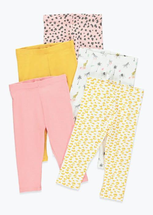 Girls 5 Pack Printed Leggings