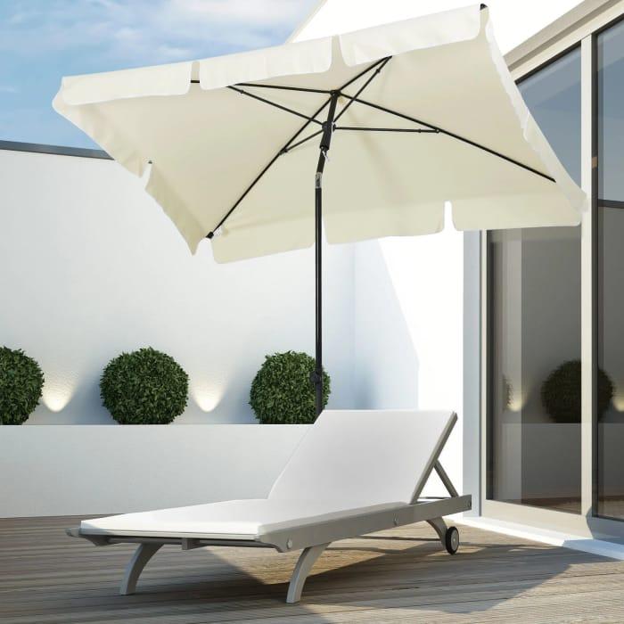 Outsunny Aluminum Umbrella Parasol-Cream Free Delivery