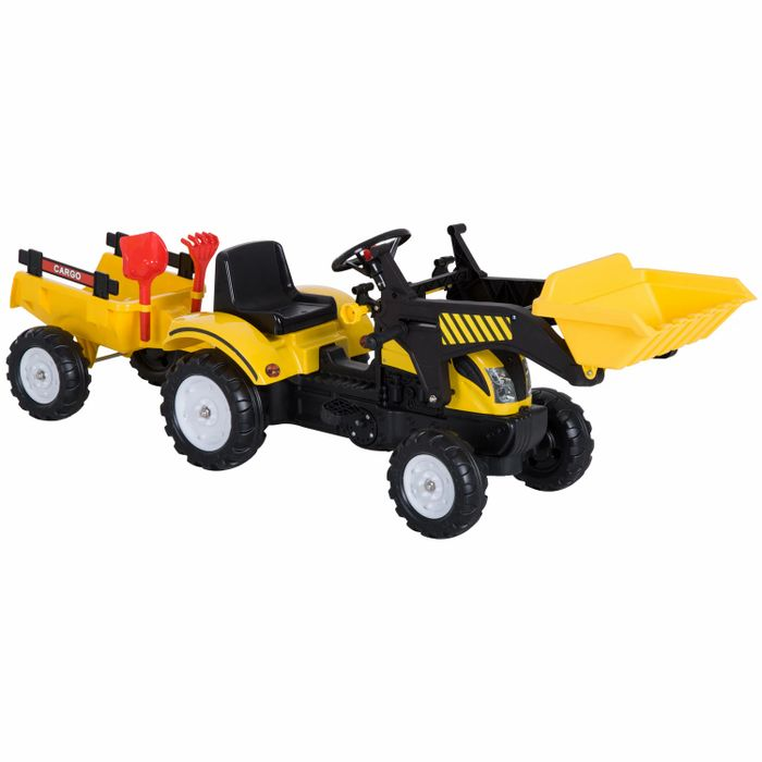 HOMCOM Kids Pedal Go Kart Excavator-Yellow Free Delivery