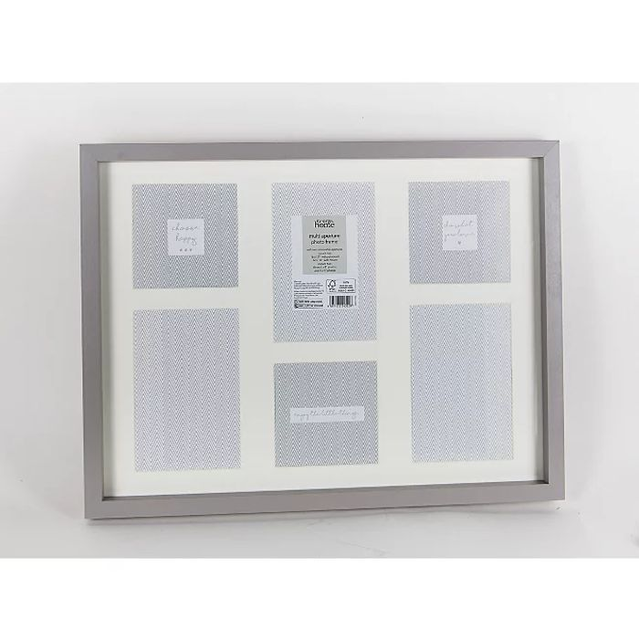 Grey 6 Aperture Boxed Photo Frame