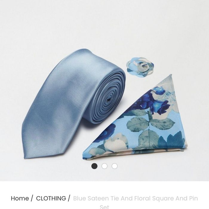 Blue Sateen Tie and Floral Square and Pin Se