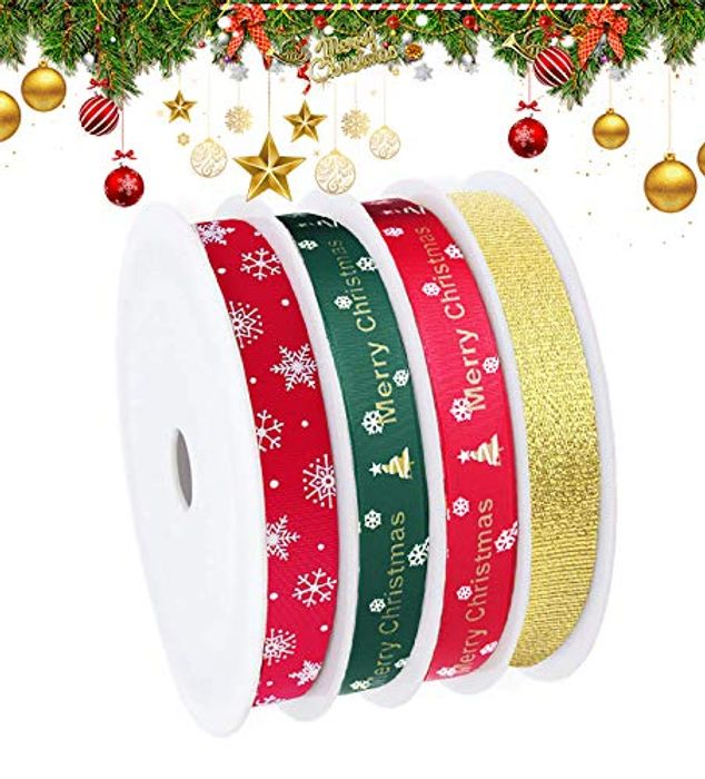 Best Price! 4 Style Christmas Ribbons for Gift Wrapping - Total 55 Metres