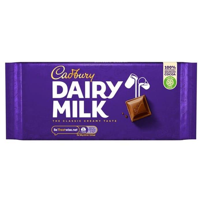 Cadbury Dairy Milk Chocolate Bar 200G £1.50 Clubcard Price