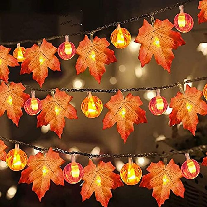 2 Pack Battery Operated Maple Leaf String Lights - 1.5m