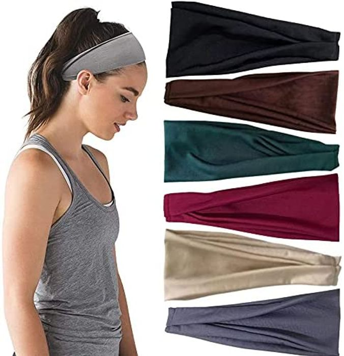6 Pack Elastic Headbands at Amazon