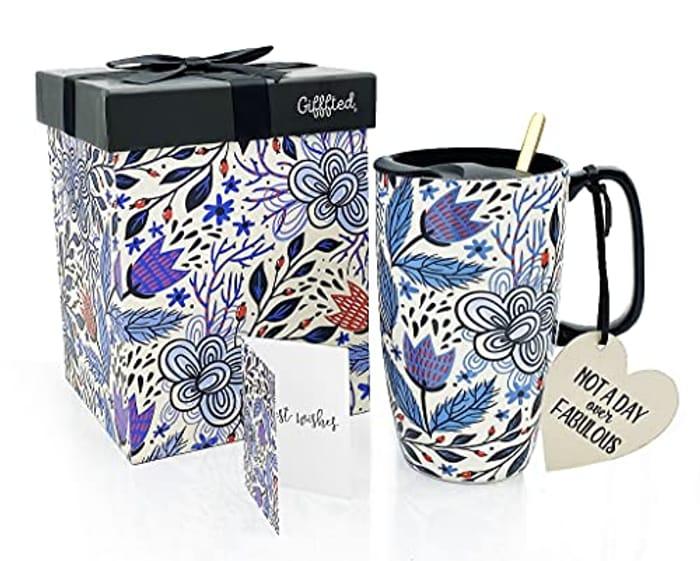 LIGHTNING DEAL - Modern Design 17Oz Ceramic Travel Mug with Elegant Gift Box