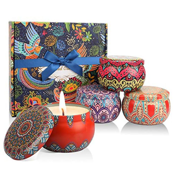 4 Pack Scented Candles Gift Set with Natural Soy Wax