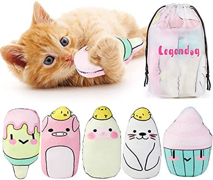 Legendog Catnip Toys for Cats Chew Toy - 5PCS Pillows - Only £3.88!