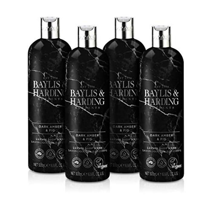 Baylis and Harding Elements Dark Amber and Fig Bodywash, 500ml (Pack of 4)