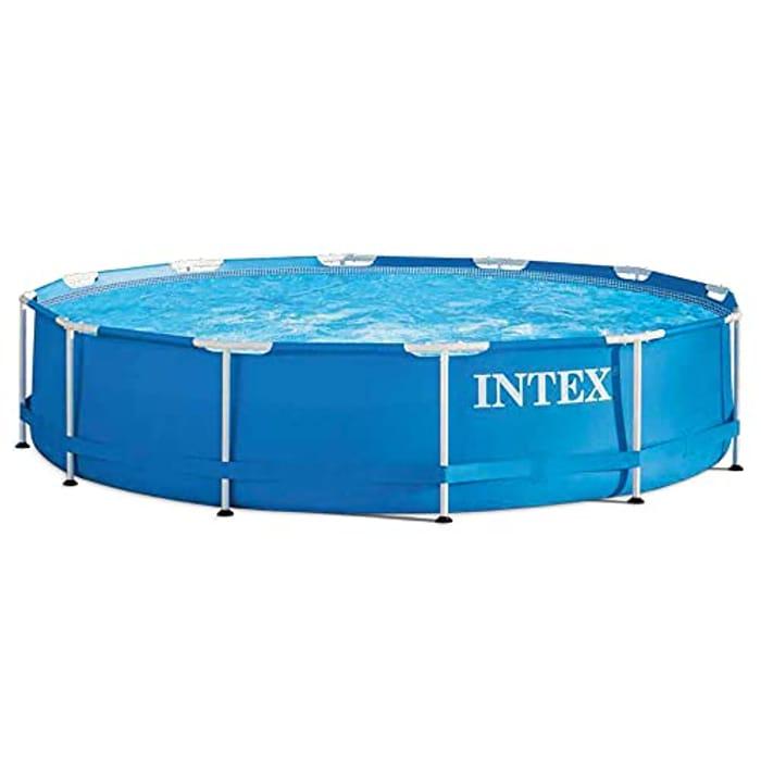 Intex 12ft X 30in Metal Frame Swimming Pool, Blue, 366 X 76 Cm