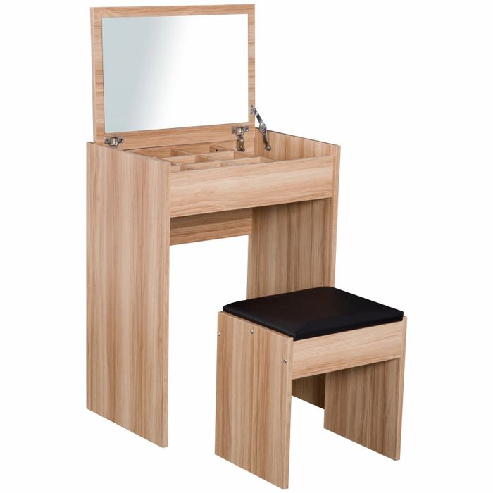 Dressing Table Set with Mirror & Stool-Wood Grain Colour Free Delivery
