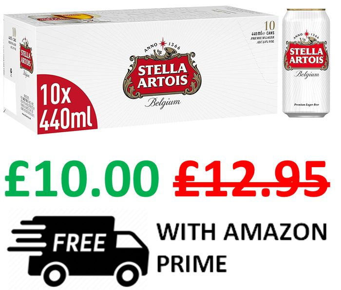 Stella Artois Lager Beer 10 Cans X 440ml