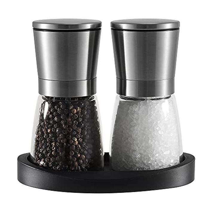 DEAL STACK - Salt and Pepper Grinder Mill Set with Rubber Stand + 8% Coupon