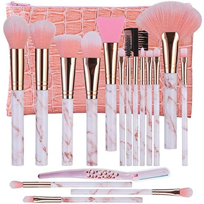 DUAIU 16Pcs Makeup Brush Set + Cosmetic Bag