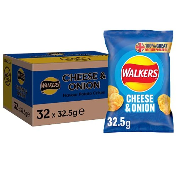Walkers Cheese & Onion Crisps Box, 32.5 G (Case of 32 Bags)