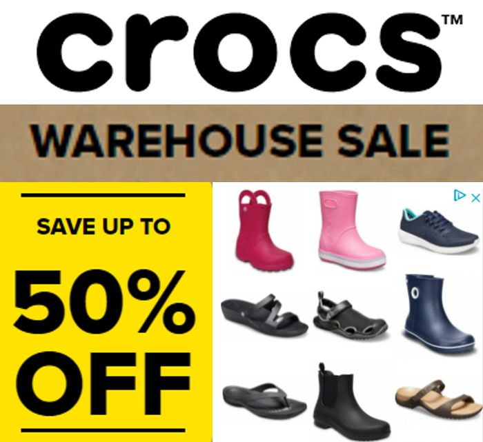 CROCS WAREHOUSE SALE - up to 50% off + FREE DELIVERY