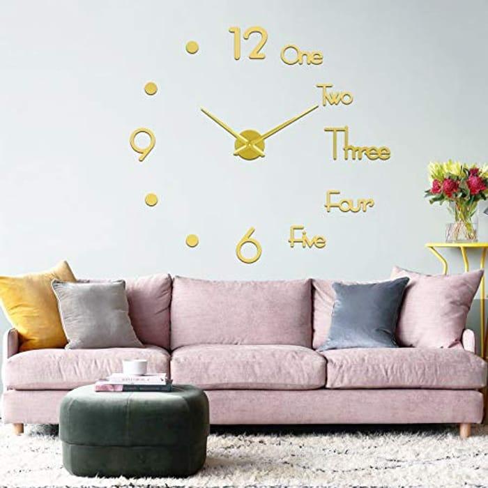 Frameless Wall Clock DIY Wall Clocks for Living Room