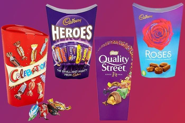 Buy 4 for £5 Cadbury Heroes,185g Roses,186g Celebration ,Quality Street 240g