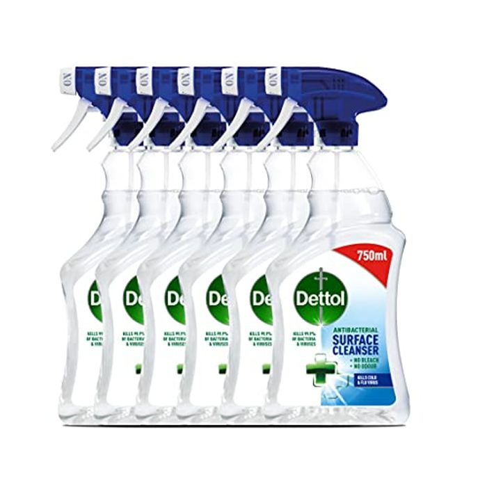 Dettol Antibacterial Bulk Surface Cleaning Spray, 750 Ml, Pack of 6
