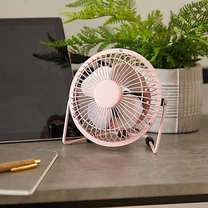 "4"" Pink USB Desk Fan at Dunelm"