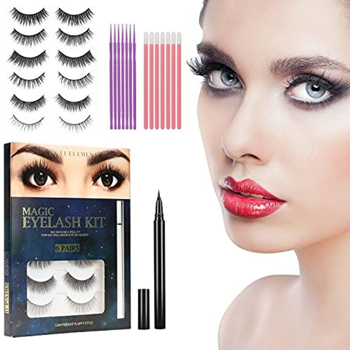 DEAL STACK - 6 Pairs 3D Magnetic Eyelashes with Eyeliner Kit + 15% Coupon