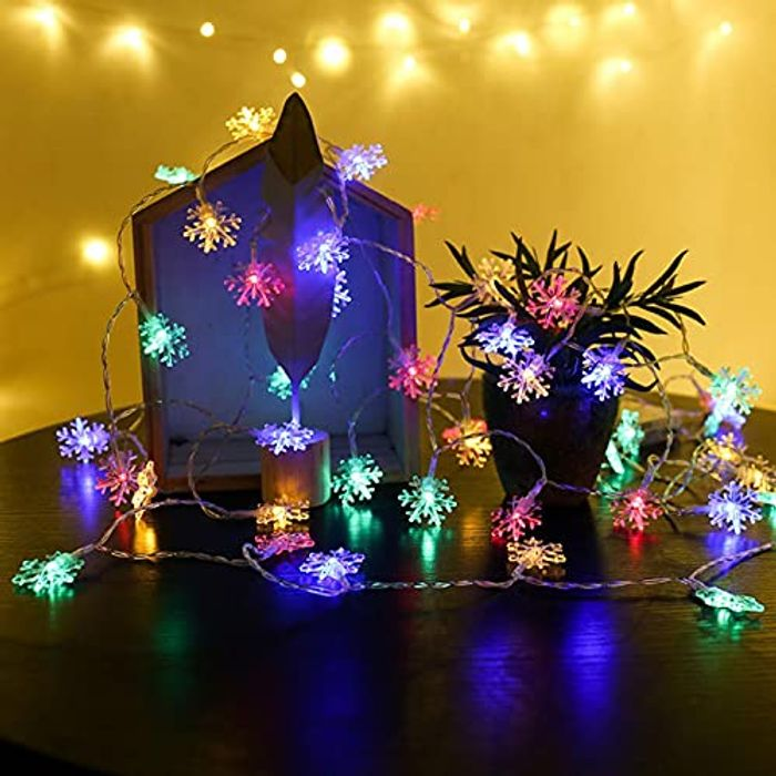 Waterproof Snowflake String Lights with 2 Modes 20 LED 6.5 FT