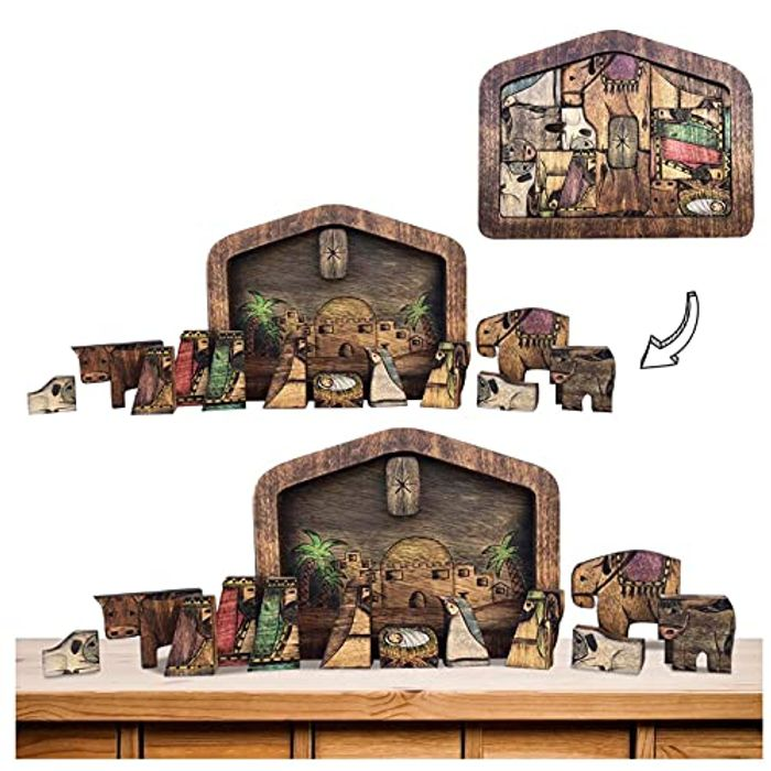 Wooden Jesus Nativity Puzzle Statue with Burned Design Sculpture - Only £8.99!