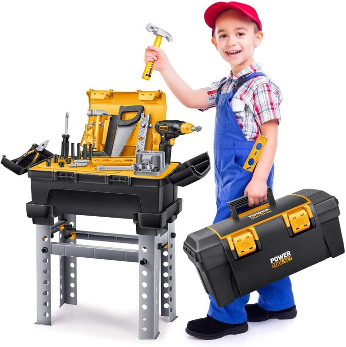 Workbench Toy Tool Set with Electric Drill