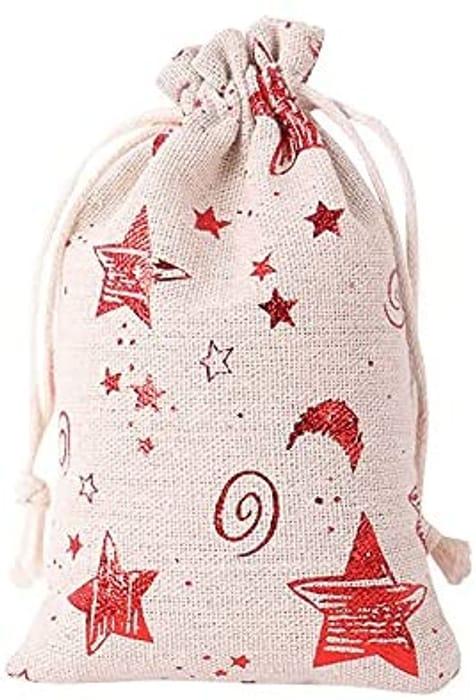 Burlap Christmas Drawstring Gift Bag - 3.9x5.5 inch