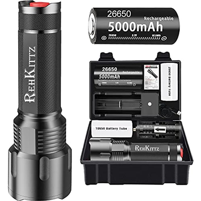 REHKITTZ LED Torch Super Bright Powerful Lumens - Only £8.49!