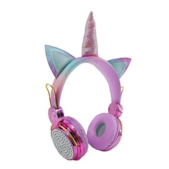 Unicorn Headphones for Girls, Glitter Pink Anime