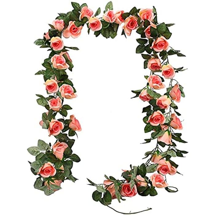 DEAL STACK - 3 Pack Artificial Rose Vine Garland, 24ft Flower + £6 Coupon