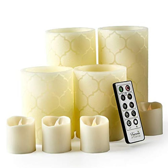 Set of 8, Battery Operated Pillars and Votives LED Candles