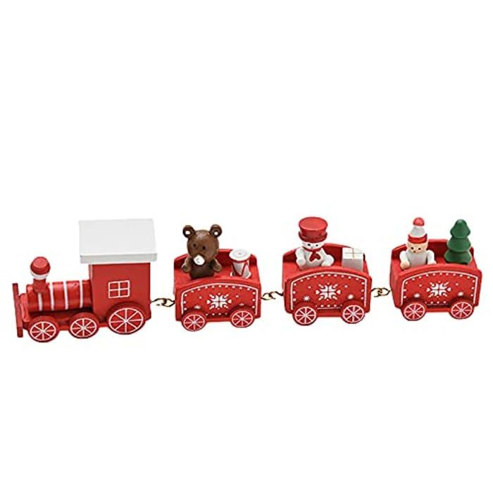 Mini Wooden Christmas Train Toys Set 4 Carriage