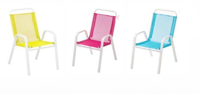 2 for £6 Homebase Kids Metal Stacking Chair - Blue,Pink,Yellow