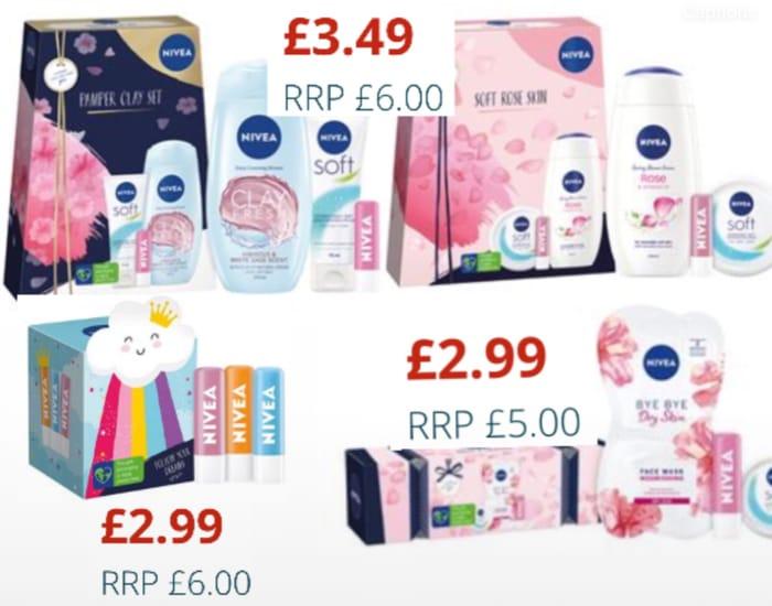 Nivea What a Cracker Gift Set £2.99/Nivea Pamper Clay & Soft Rose Skin Gift Sets