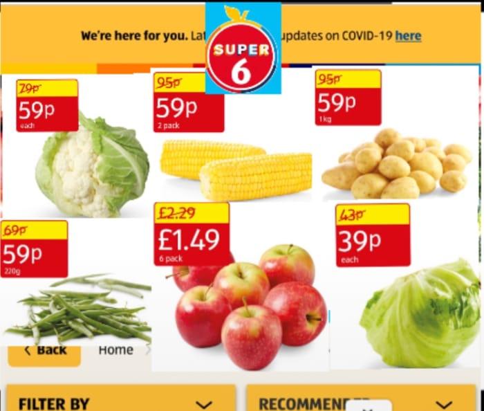 Super 6: Cauliflower, Sweetcorn, Potato, Green Beans, PinkLady Apple, Lettuce