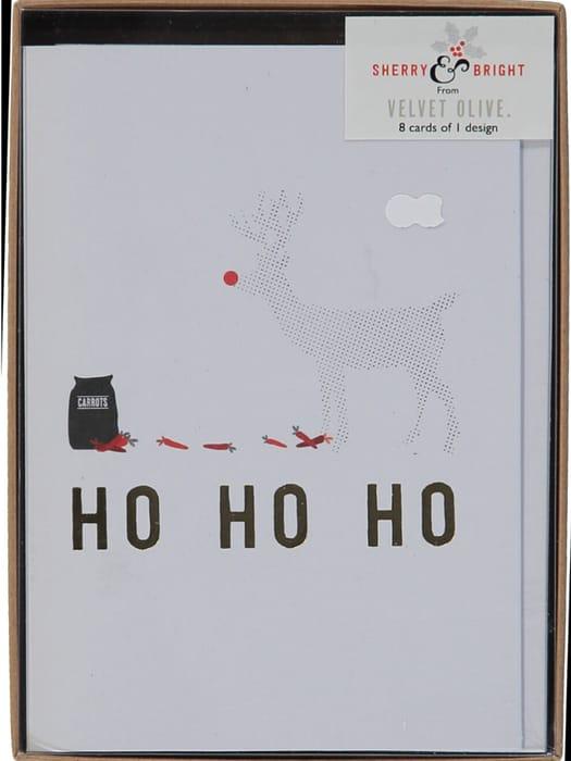 VELVET OLIVE Eight Pack White Christmas Cards
