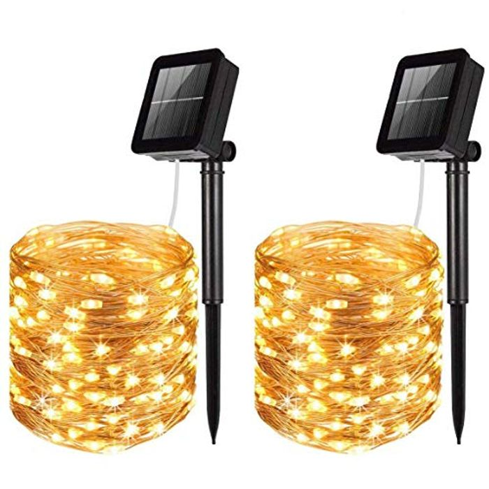 LiyuanQ 2 Pack 120 LED Solar String Lights with 8 Modes
