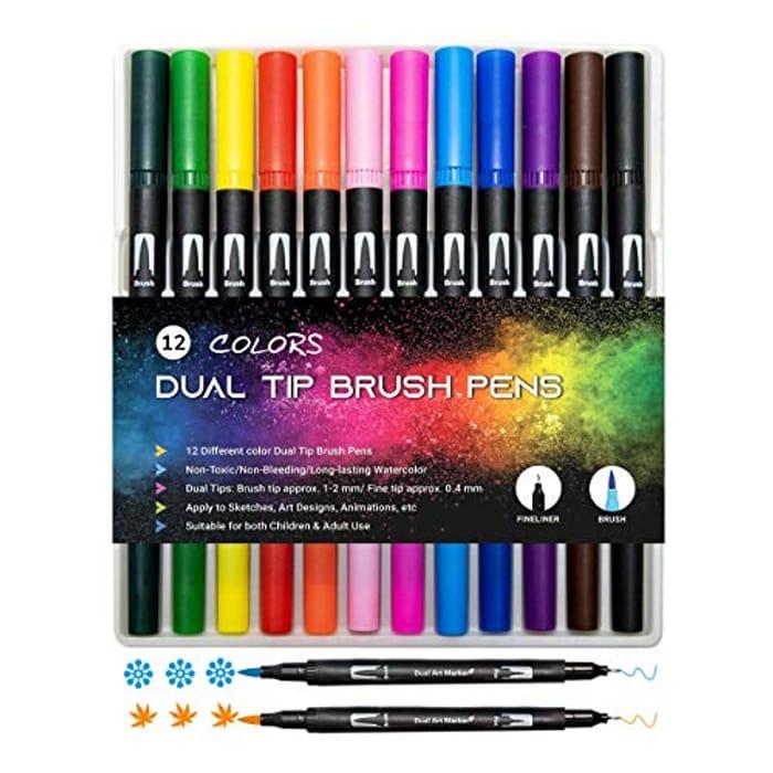 12 Pack Watercolour Dual Tip Brush Pens