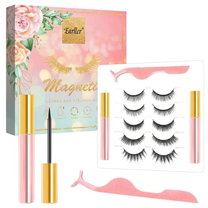 5 Pairs Magnetic Eyelashes + Eyeliner Kit