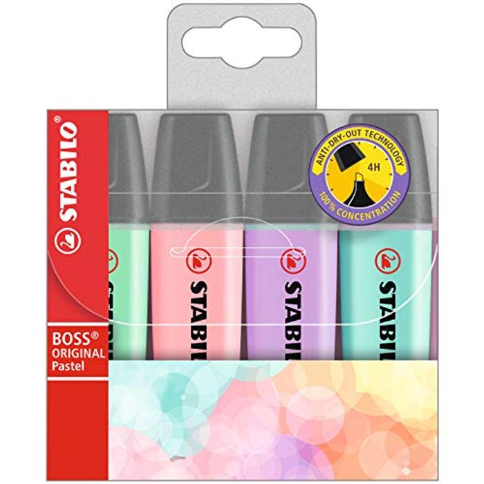 STABILO BOSS ORIGINAL Pastel Wallet of 4 Assorted Colours - Also in Neon