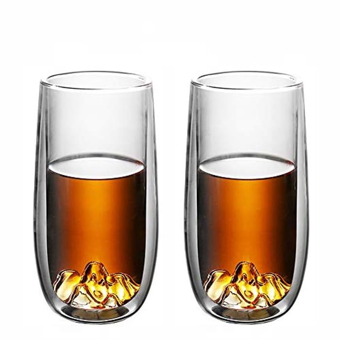 2PCS Tea Cups Sets 280 ML Double Walled Coffee Glass Mugs
