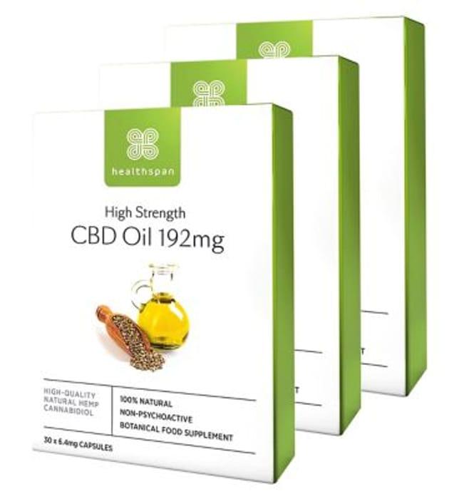Healthspan High Strength CBD Oil 192mg 30s X 3 Bundle