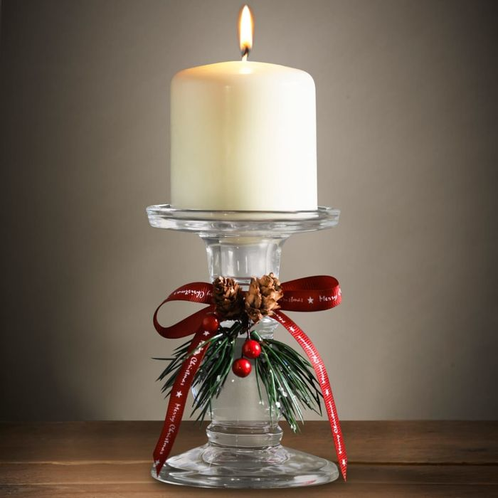 Clear Pillar Candle Holder with Ribbon and Pine Cone