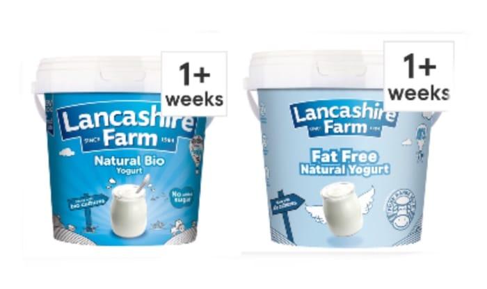 Lancashire Farm Natural Fat Free and Whole Milk Yogurt 1Kg £1.20 Clubcard Price