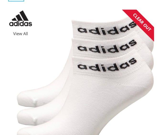 Adidas Three Pack Ankle Socks White/Black