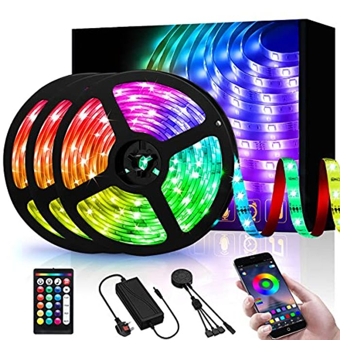 DEAL STACK - 450LEDs RGB APP 15m LED Strip Lights with Remote + 10% Coupon