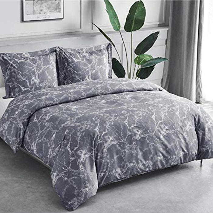Marble Pattern Microfiber Bedding Sets 3 Pcs with Zipper Closure - Only £9.99!