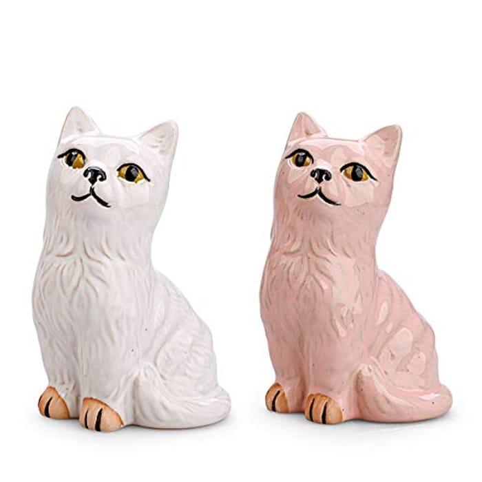 Pack of 2 Ceramic Cat Vases - 3.8L x 3.2W x 6.1H